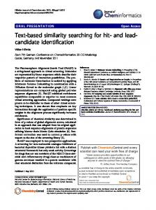 Text-based similarity searching for hit- and lead ...