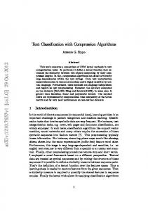 Text Classification with Compression Algorithms