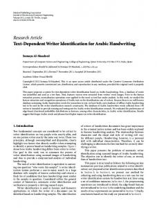 Text-Dependent Writer Identification for Arabic Handwriting