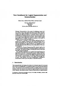 Text Entailment for Logical Segmentation and