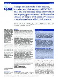 (TEXT ME) trial of a text message-based intervention ... - BioMedSearch