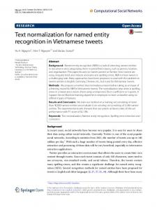 Text normalization for named entity recognition in Vietnamese tweets