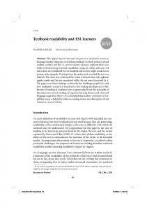 Textbook readability and ESL learners - Eric
