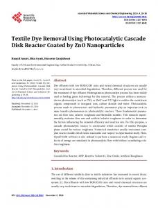 Textile Dye Removal Using Photocatalytic