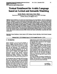 Textual Entailment for Arabic Language based on Lexical and ...