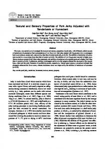 Textural and Sensory Properties of Pork Jerky Adjusted - kisti