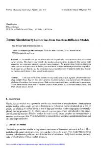 Texture Simulation by Lattice Gas from Reaction-Diffusion Models