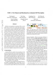 TGIF: A New Dataset and Benchmark on Animated ... - Yahoo! Research