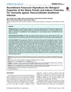 Th1 Immunity against Paracoccidioides brasiliensis - CiteSeerX