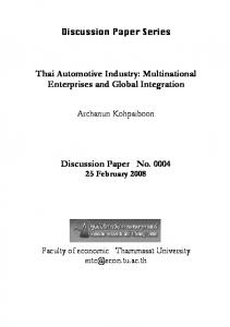 Thai Automotive Industry - CiteSeerX