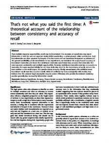 That's not what you said the first time: A theoretical ... - Semantic Scholar