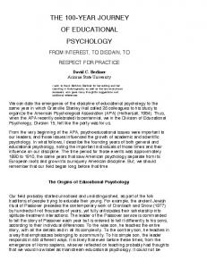 THE 100-YEAR JOURNEY OF EDUCATIONAL PSYCHOLOGY