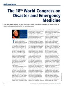 The 18th World Congress on Disaster and Emergency ...