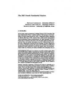 The 2007 French Presidential Election - UCI Social Sciences