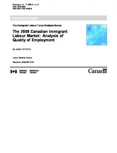 The 2008 Canadian Immigrant Labour Market - Statistics Canada