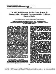 The 2008 World Congress Working Group Reports: An ... - FISPGHAN
