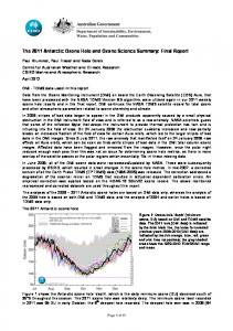 The 2011 Antarctic Ozone Hole and Ozone Science Summary: Final ...