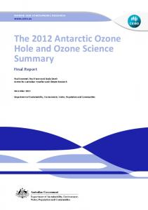 The 2012 Antarctic Ozone Hole and Ozone Science Summary Final ...