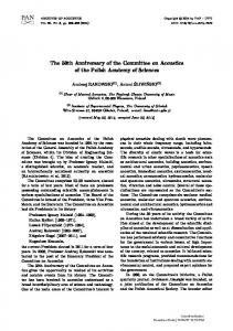 The 50th Anniversary of the Committee on Acoustics