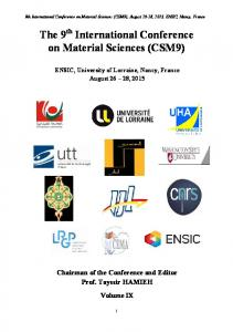 The 9 International Conference on Material Sciences