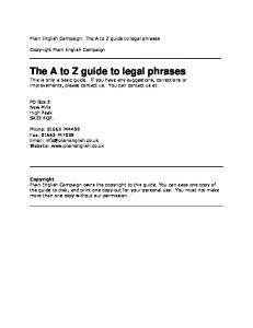 The A to Z guide to legal phrases - Plain English Campaign