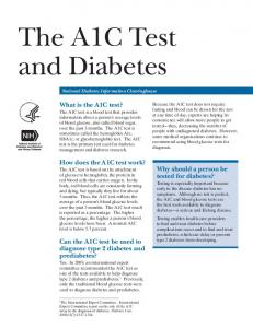 The A1C Test and Diabetes – National Institutes of Health