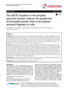 The A673T mutation in the amyloid precursor protein reduces the ...