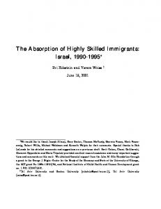 The Absorption of Highly Skilled Immigrants: Israel, 1990 ... - CiteSeerX