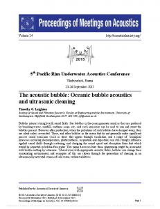 The acoustic bubble: Oceanic bubble acoustics and ultrasonic cleaning