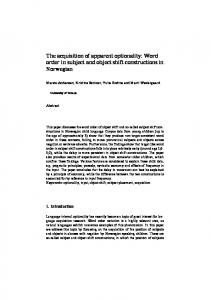 The acquisition of apparent optionality: Word order