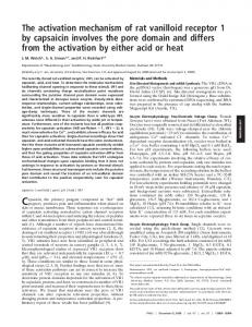 The activation mechanism of rat vanilloid receptor 1 by capsaicin ...
