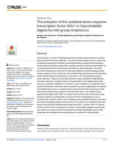The activation of the oxidative stress response transcription ... - PLOS