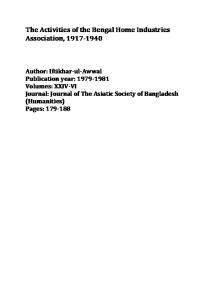 The Activities of the Bengal Home Industries Association, 1917-1940