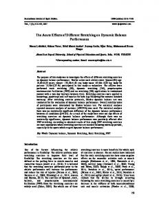 The Acute Effects of Different Stretching on Dynamic ...