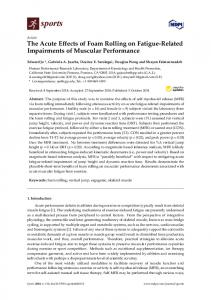 The Acute Effects of Foam Rolling on Fatigue-Related ... - MDPI