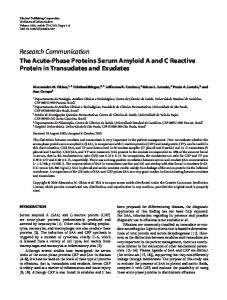 The Acute-Phase Proteins Serum Amyloid A and C ... - CiteSeerX