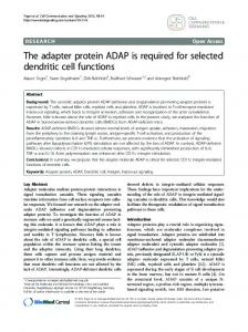 The adapter protein ADAP is required for selected dendritic cell ...
