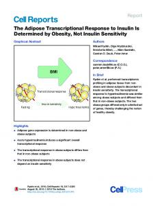 The Adipose Transcriptional Response to Insulin Is Determined by ...