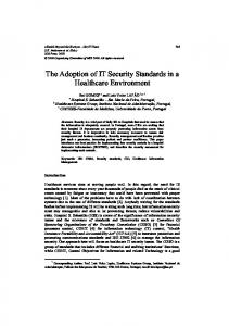 The Adoption of IT Security Standards in a Healthcare ... - CiteSeerX