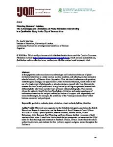 The Advantages and Limitations of Photo-Elicitation Interviewing in a ...