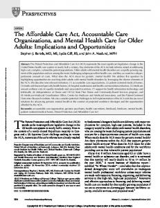 The Affordable Care Act, Accountable Care ...