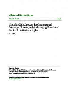 The Affordable Care Act, the Constitutional Meaning of Statutes, and ...