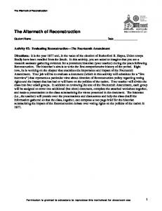 The Aftermath of Reconstruction: Worksheet 2 - EDSITEment