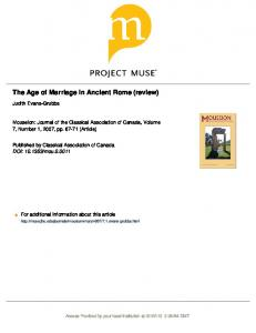 The Age of Marriage in Ancient Rome (review)