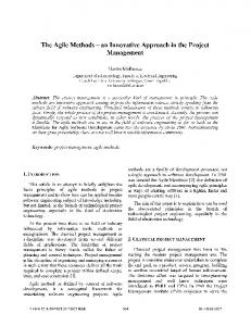The Agile Methods an Innovative Approach in the Project Management