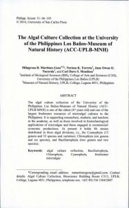 The Algal Culture Collection at the University of the Philippines Los ...