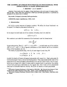 THE ALGEBRA OF LINEAR FUNCTIONALS ON POLYNOMIALS