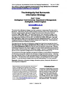 The Ambiguity that Surrounds Information Strategy - Semantic Scholar