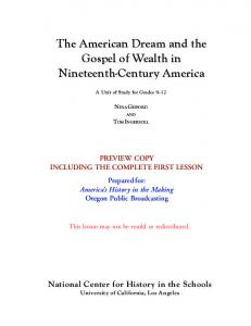 The American Dream and the Gospel of Wealth in Nineteenth ...