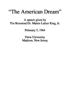 """The American Dream"" - Drew University"